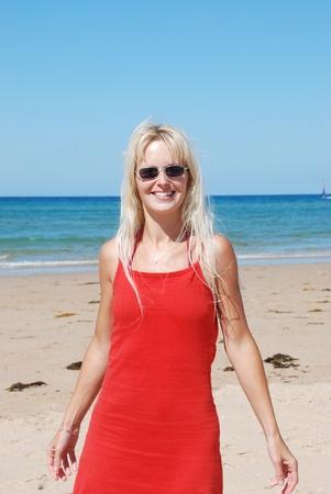 woman at beach photo