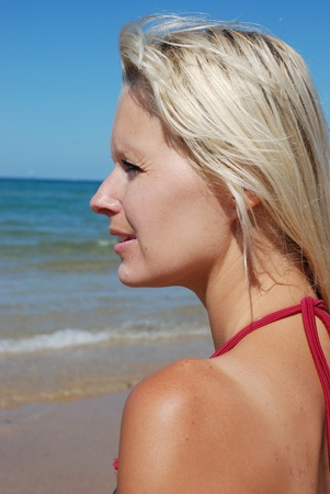 hollidays: woman at beach Stock Photo