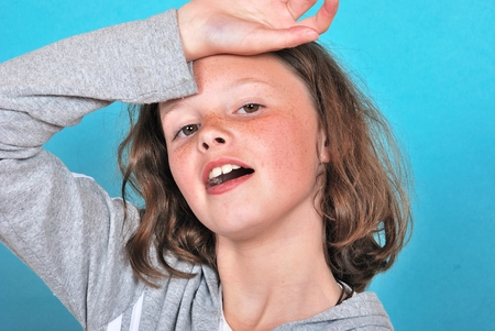 apathetic: Teen girl looking discouraged Stock Photo
