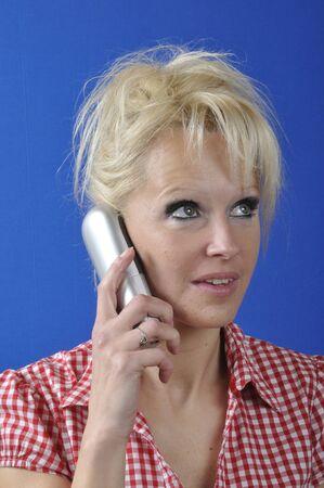 phoning: Blond woman phoning