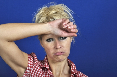 Woman looking discouraged Stock Photo