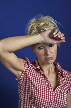 apathetic: Woman looking discouraged Stock Photo