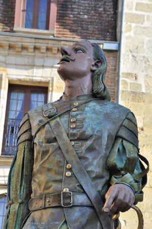 France, Aquitaine, dordogne (24), Bergerac, Cyrano de Bergerac statue Editorial
