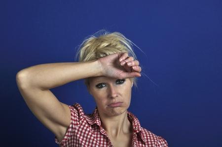 ennui: Woman looking discouraged Stock Photo