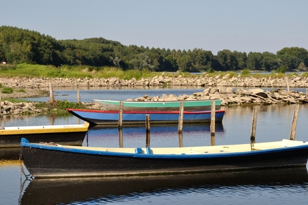 punting: boat on Loire river Stock Photo
