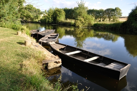 anjou: boat on a river Stock Photo