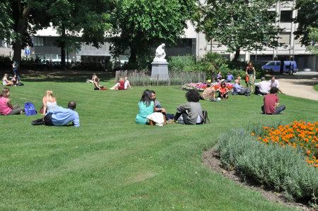 urbanism: BRUSSELS, BELGIUM - JULY 31, 2014: People in park