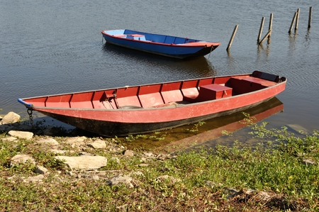anjou: boat on Loire river Stock Photo