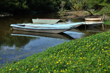 punting: boat on Louet river Stock Photo