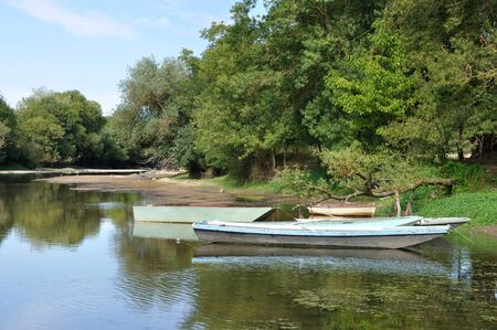 anjou: boat on Louet river Stock Photo