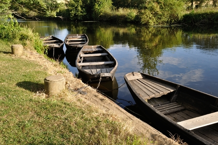 barque: boat on a river Stock Photo
