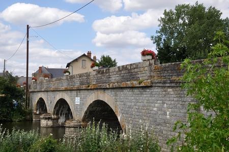 anjou: Stone bridge in Saint Aubin de Luigne