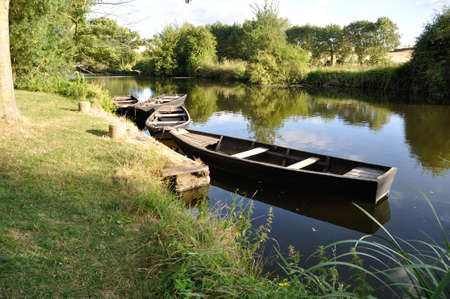 punting: boat on a river Stock Photo
