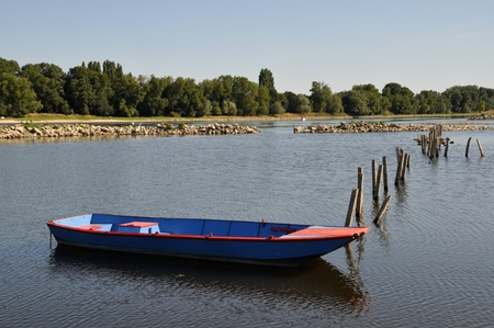 punter: boat on Loire river Stock Photo