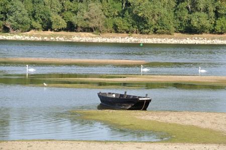 anjou: A boat in Loire river in Anjou Stock Photo