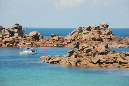 ploumanach: Cotes-dArmor, Ploumanach rocks on the Pink Granite Coast in Perros-Guirec. Stock Photo