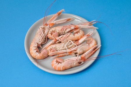 basic food: Close-up of three scampi Stock Photo