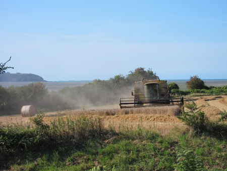 HILLION, FRANCE-AUGUST 13, 2017 straw and combine harvester in harvested field in Hillion