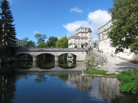 Seugne river at   Jonzac in Charente-Maritime Stok Fotoğraf