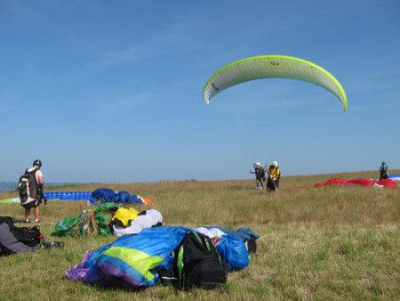 PLERIN_FRANCE, 02 APRIL, 2017: paragliding takeoff area of Pointe du Roselier in Plerin in Brittany
