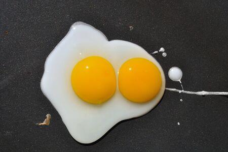 Eggs on plancha Banco de Imagens