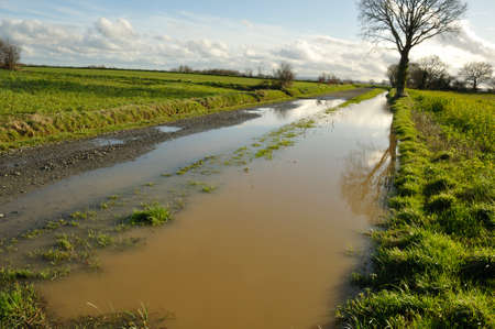 A flooded country lane in Brittany Stock Photo