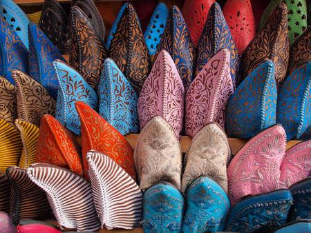 Colorful moroccan handmade leather shoes 版權商用圖片