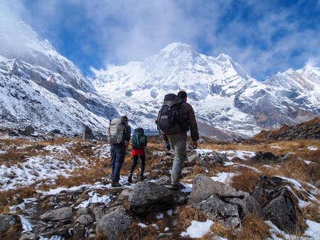Trekkers walking to Annapurna Sanctuary, Himalayas, Nepal