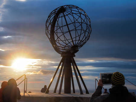 North Cape  nordkapp  in Norway at midnight Stock Photo