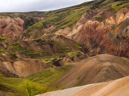 colorfull rock and lava field at Landmannalaugar, Iceland 版權商用圖片