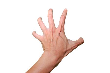 왼손은 흰색 배경과 격리 된 흰색으로 무언가를 잡아입니다.