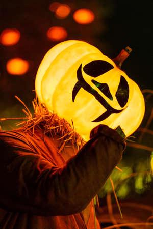 Halloween decorations at night in Tivoli gardens, Denmark