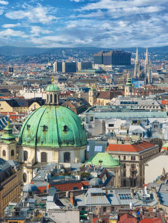 Panoramic aerial view over historic old town of Vienna with famous landmarks such as St. Stephens cathedral. Reklamní fotografie