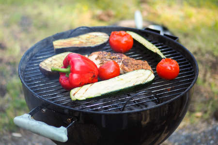 Picture of Organic Grilled Vegetable with peppers, mushrooms, zucchini and onions Stock Photo