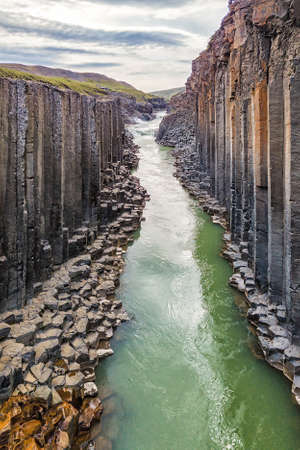 View of Studlagil basalt canyon, Iceland. One of the most wonderfull nature sightseeing in Iceland.