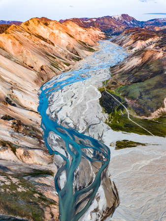 Landmannalaugar National Park in Iceland. Rainbow Mountains. Aerial view of beautiful colorful volcanic mountains. Top view. Picture made by drone from above.