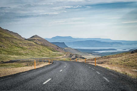 Beautiful view from the car at summer of road trip car at Westfjords in Iceland