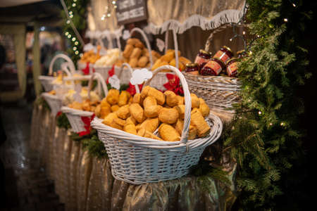 Picture of Bread or loafs on display in a christmas setting at a market in Gdansk, Poland