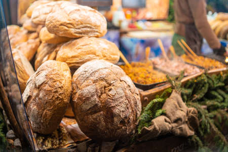 Bread or loafs on display in a christmas setting at a market in Gdansk, Poland Imagens