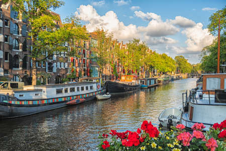 Image of Beautiful views of the streets, ancient buildings, people, embankments of Amsterdam - also call Venice in the North.