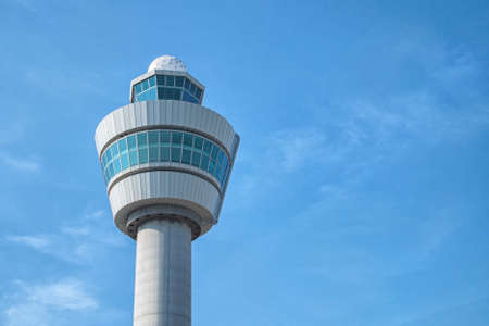 Air control tower in the Netherlands morning light.