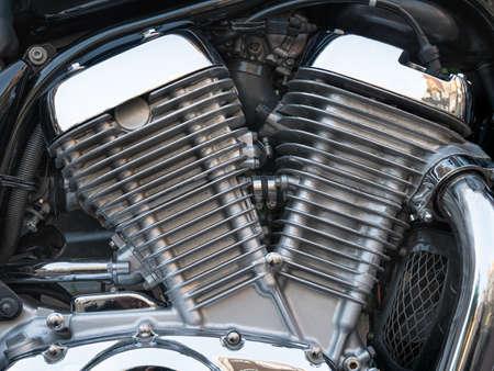 Closeup image of chromed motorcycle engine 스톡 콘텐츠