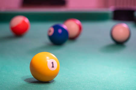 Picture of Billiard balls on table. Leisure and gambling concept. Toned image of striped colorful balls Stok Fotoğraf