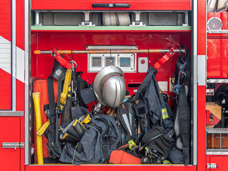 Rescue equipment, tool in the fire-fighting truck.