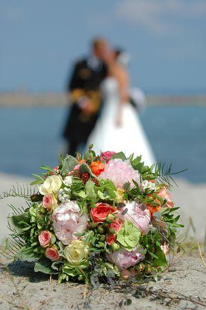 marrage: Bouquet, bride and groom