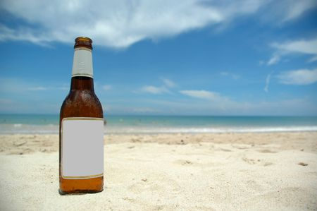 Beer and beach (blank)insert your own logo or tekst. photo