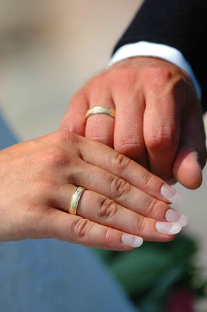 marrage: Rings and hands Stock Photo