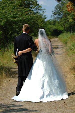 marrage: Wedding couple walking Stock Photo