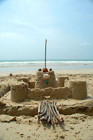 chateau de sable: Ch�teau de sable sur la plage