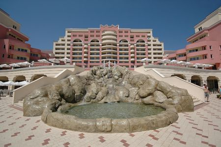 Hotel and clear blue sky Stock Photo - 557175